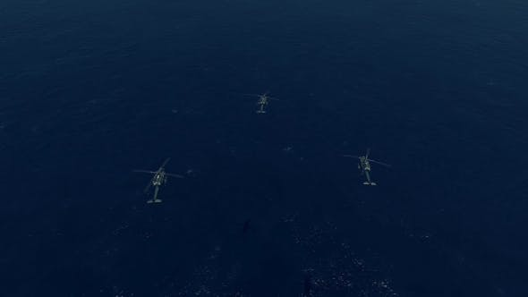 Thumbnail for 3 War Helicopter Flying Over The Ocean