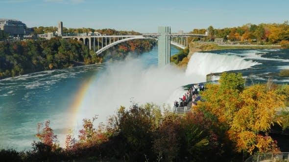 Cover Image for The Observation Deck Near the Famous Niagara Falls. Tourists Admire the Breathtaking Sight