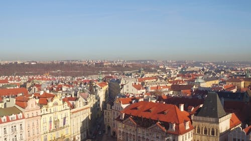 Sloped Roofs and Gothic Spires of Prague on a Sunny Day in Czech Republic