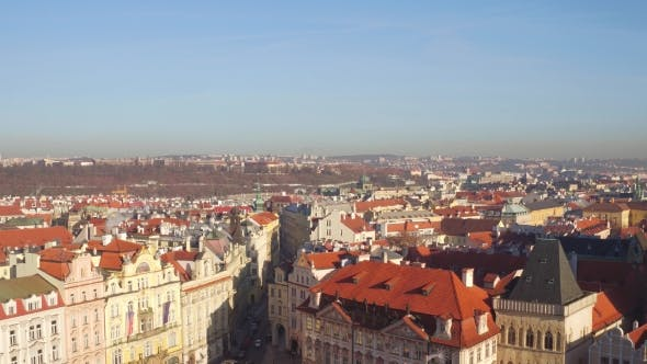 Thumbnail for Sloped Roofs and Gothic Spires of Prague on a Sunny Day in Czech Republic