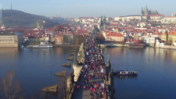 Thumbnail for Charles Bridge and Distant Ancient Prague Castle on a Sunny Day