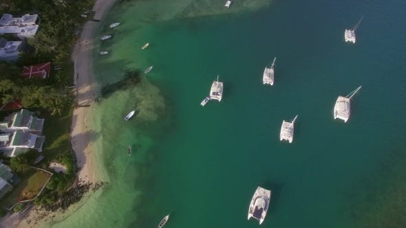 Thumbnail for Bay with Yachts and Boats, Aerial View Mauritius Island