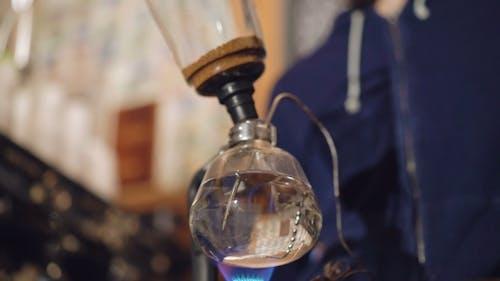 Barista Preparing Coffee in Alternative Coffee Maker