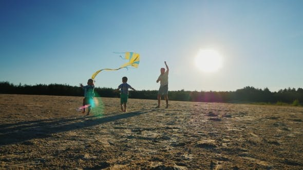 Cover Image for Young Father Playing with Two Sons Flying a Kite