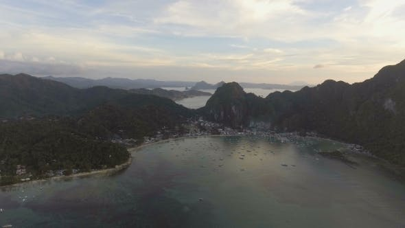 Thumbnail for The Beautiful Bay with Boats at Sunset. Aerial View