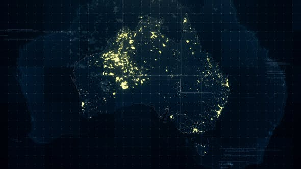 Thumbnail for Australia Map Night Lighting Rollback 4K