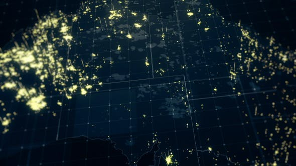 Thumbnail for Australia Map Night Lighting Close View 4K