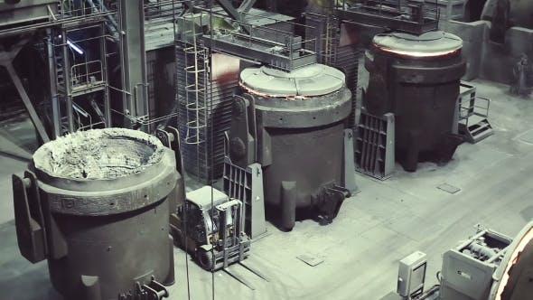 Thumbnail for Metallurgy. Plant Metal Processing. Work Shop. Melting in Electric Arc Furnaces. Steels in the Ladle