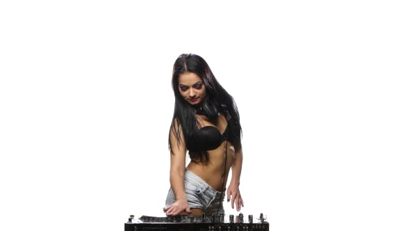 Thumbnail for DJ Girl Brunette Plays the DJ Console and Dancing. White Background