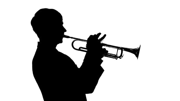 Cover Image for Silhouette. Musician Slowly Playing Trumpet in a Studio