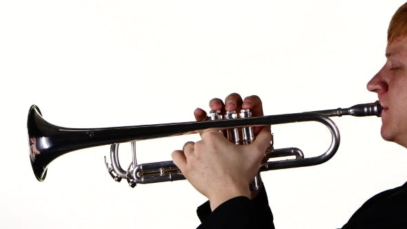 Cover Image for Man Trumpeter Blows the Motif in a Wind Instrument