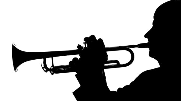 Thumbnail for Silhouette Trumpeter Playing a Slow Tune on a Pipe