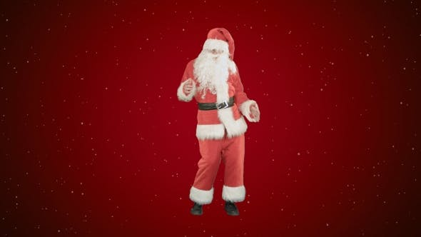 Thumbnail for Happy Christmas Santa Claus Having Fun and Dancing on Red Background with Snow