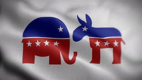 Republican & Democrat Flag Front