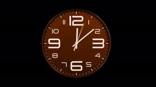 Modern Orange Clock Face Moving Fast Forward