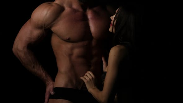 Thumbnail for Sexy Couple Foreplay at Home, Woman Pull Down Mans Jeans, Muscular Body with Abs