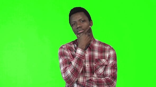 Thumbnail for Young Thoughtful Man on Chromakey Background