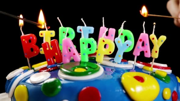 Thumbnail for Light Fires Colored Happy Birthday Candles