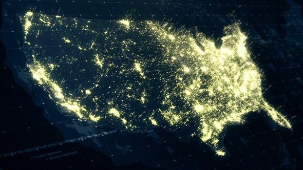 Thumbnail for USA Map Night at Light HD