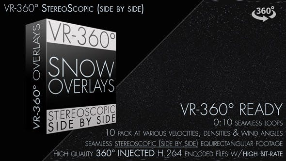 Snow Overlay VR-360° Editors Pack (StereoScopic 3D Side by Side)