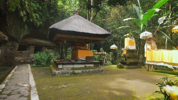 Thumbnail for Holy Temple in the Forest on Bali Island. Stone Chancel Inside Tropical Garden