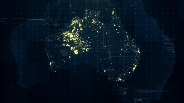 Thumbnail for Australia Map Night Lighting Rollback HD