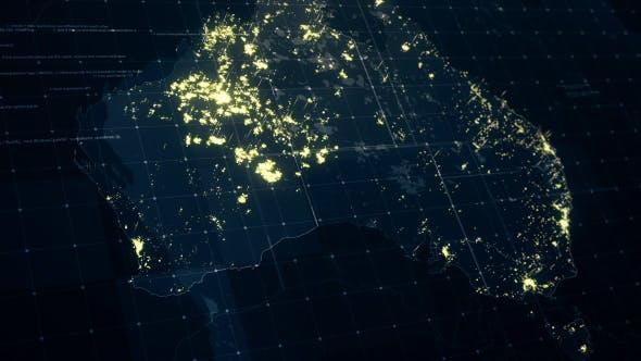 Thumbnail for Australia Map at Night HD