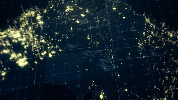 Thumbnail for Australia Map Night Lighting Close View HD