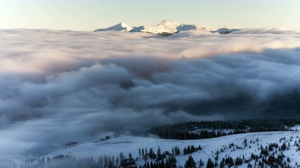 Thumbnail for Winter Landscape in Carpathian Mountains. Beutiful Sunset Above the Clouds.