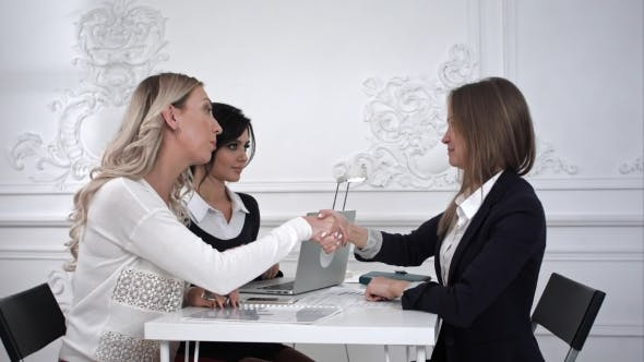 Thumbnail for Three Smily Business Women Shaking Hands in the Office