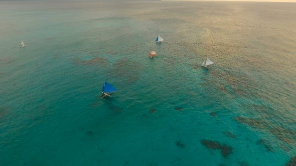 Thumbnail for Beautiful Sunset Over Sea, Aerial View. Boracay Island Philippines