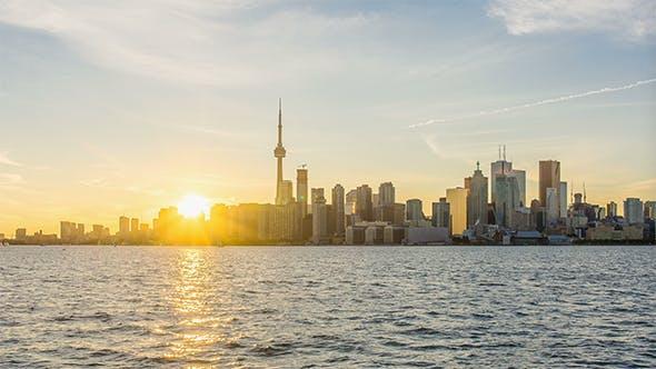 The skyline of Toronto at Sunset