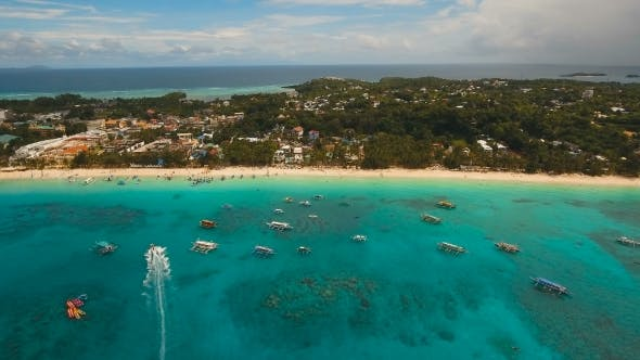 Thumbnail for Aerial View Beautiful Beach on Tropical Island. Boracay Island Philippines.