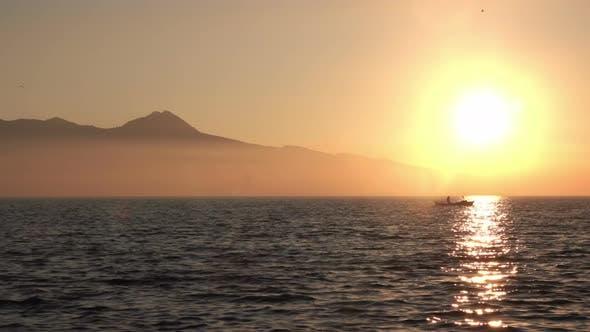 Sunset Sea Old Fishing Boat On