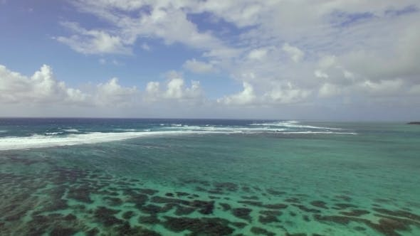 Cover Image for Flying Over Indian Ocean By Coast of Mauritius Island