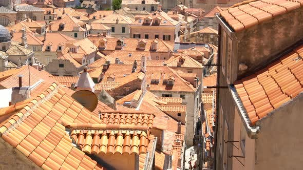 Thumbnail for People Travel Old Town Medieval Stairs, Mediterranean Dubrovnik City, Croatia