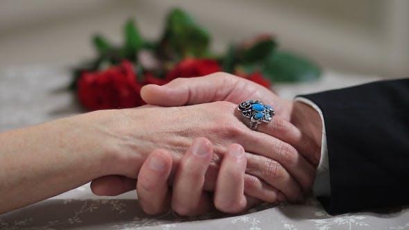 Thumbnail for Senior Male Hand Caressing Elderly Female Hand