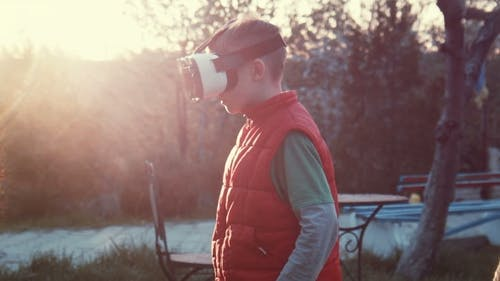 Little Boy Watching Video Cartoon 360 in VR