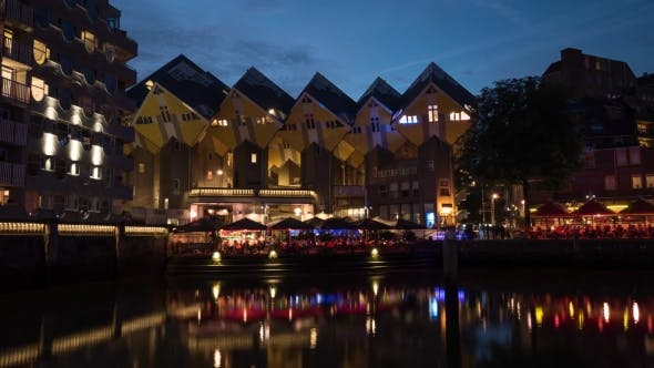 Thumbnail for Night Rotterdam with Cube Houses and Waterfront Cafes