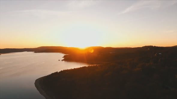 Thumbnail for Aerial of Sunset at Lake in Summer