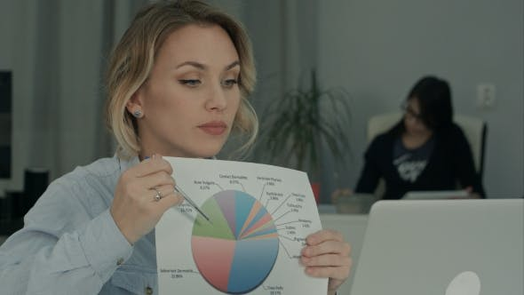 Thumbnail for Office Woman Explaining Pie Chart To Colleagues Via Laptop
