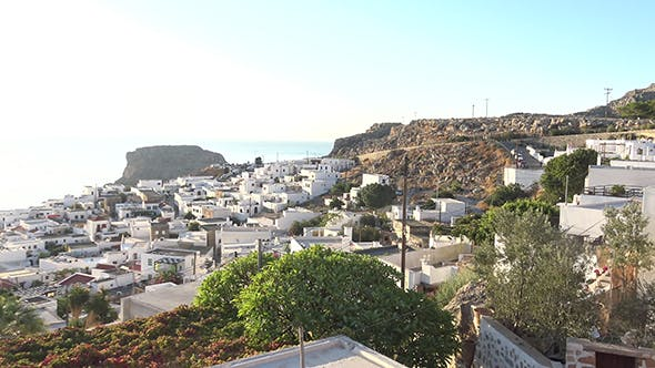 Thumbnail for Panning Shot Of Lindos On Sunny Day