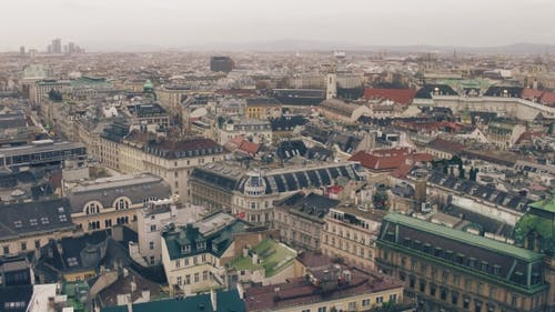 Old and Modern Buildings' Roofs in Vienna on a Cloudy Day