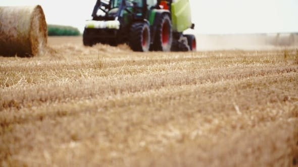 Thumbnail for Tractor Releases a Hay Bale, Straw. Agriculture Background.