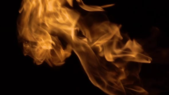 Thumbnail for Flames of Fire on Black Background in