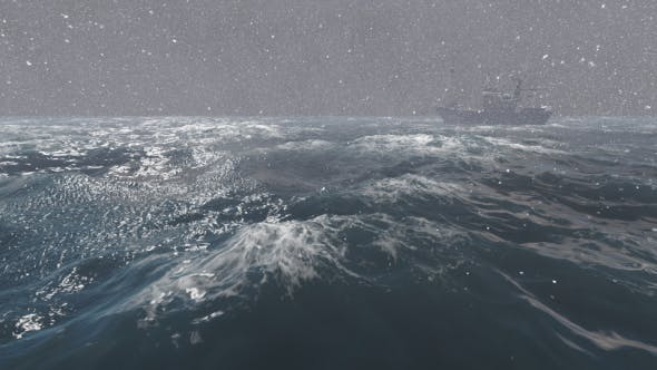 Thumbnail for Fishing Boat in Ocean in Snowy Weather