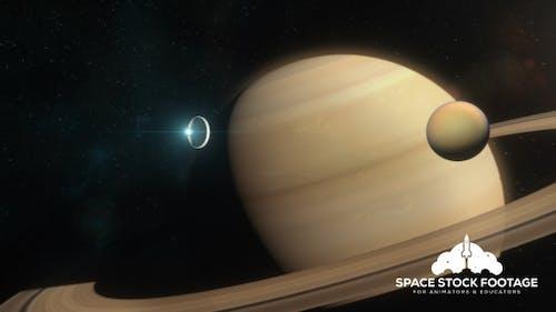 Spaceship Approaching Saturn