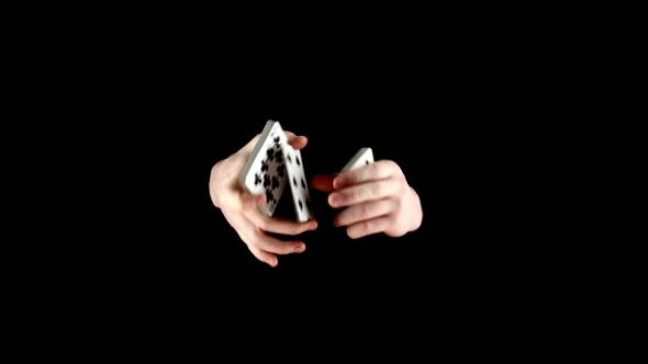 Thumbnail for Magician Starts Showing His Trick with Cards, Cardistry on Black