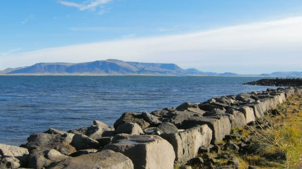 Thumbnail for Embankment of Atlantic Ocean in Reykjavik, View of Esja Mountain, in Sunny Day