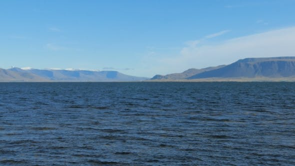 Thumbnail for View of Atlantic Ocean Water Near Reykjavik Coast To Hvalfjordur and Mountains in Sunny Day
